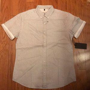 Short sleeve button down printed shirt.